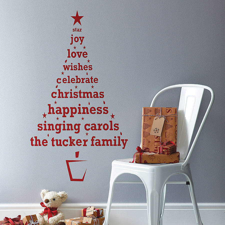 Personalised christmas tree wall sticker by spin for Christmas decoration quotes