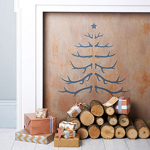 Antler Christmas Tree Wall Sticker - christmas trees