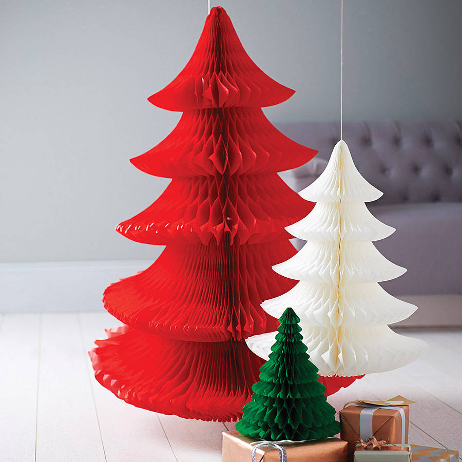 Paper Tissue Fan Christmas Decorations By Pearl And Earl: Tissue Paper Christmas Tree Decoration By Pearl And Earl