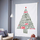 Typographic Christmas Tree Fabric Wall Hanging