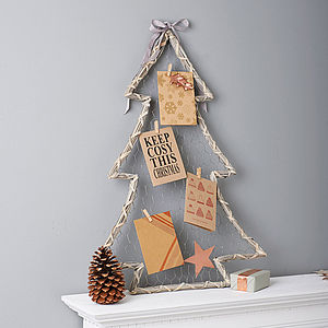 Willow Christmas Tree Card Holder - living room