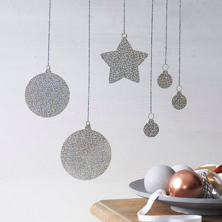 Homemade christmas decorations for walls homemade xmas decor on homemade christmas decorations for walls glitter baubles wall sticker by nutmeg amipublicfo Choice Image