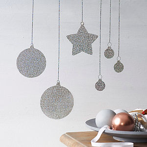 Glitter Baubles Wall Sticker - decorative accessories
