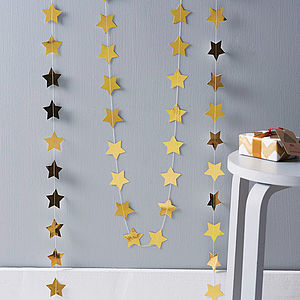 Metallic Gold 5cm Stars Paper Garland - festive wall art