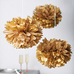 Metallic Hanging Pom Pom Decoration - garlands, bunting & hanging decorations