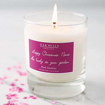 Raspberry pink label personalised scented candle