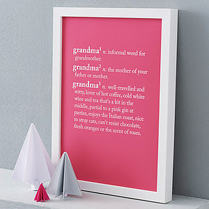 Personalised Grandparent Dictionary Print