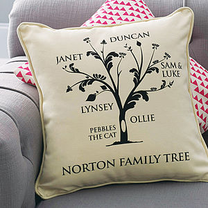 Personalised Family Tree Cushion - gifts for mothers