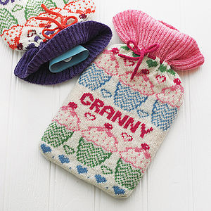 Fairisle Hot Water Bottle Cover For Her - gifts for grandparents