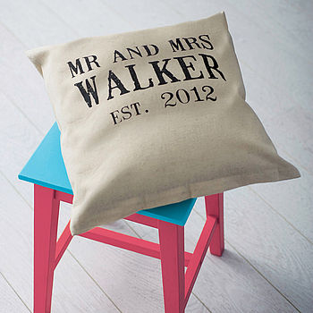 Personalised 'Mr And Mrs' Linen Wedding Cushion
