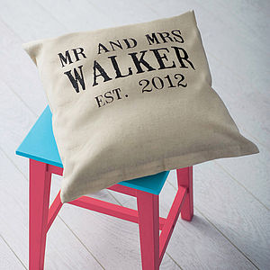 Personalised 'Mr And Mrs' Wedding Linen Cushion - living room