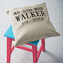 Personalised 'Mr And Mrs' Wedding Linen Cushion