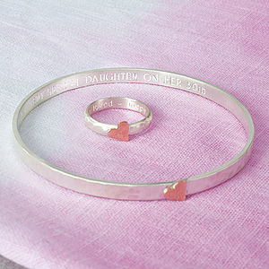 Personalised Hammered Heart Ring Or Bangle