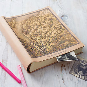 Personalised Map Leather Photo Album - stationery