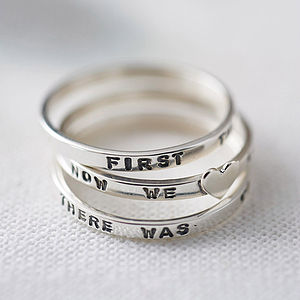 Personalised Sterling Silver Stacking Ring - gifts for her
