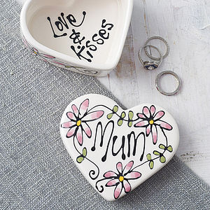 Personalised Ceramic Heart Box - jewellery gifts for mothers