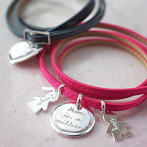 Personalised Leather Wrap Charm Bracelet - gifts for her