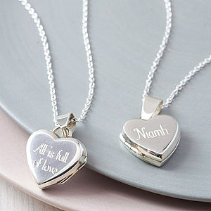 Personalised Silver Heart Locket - gifts for her