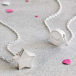 Personalised Silver Engraved Charm Pendant - wedding day tokens