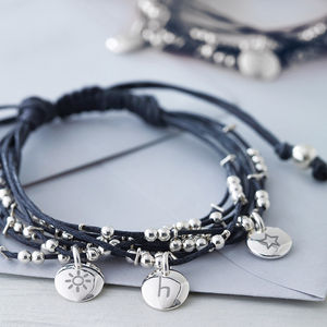 Personalised Friendship Bracelet Slate Grey - charm jewellery