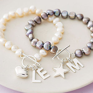 Freshwater Pearl Initial Bracelet - 40th birthday gifts