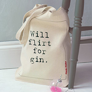 'Will Flirt For Gin' Tote Bag - stocking fillers