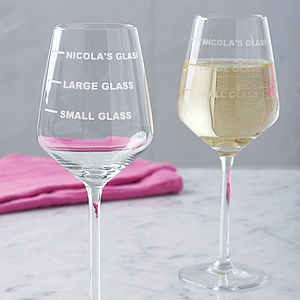 Personalised Drinks Measure Wine Glass - palentine's gifts