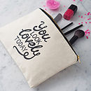 Thumb you look lovely today canvas pouch