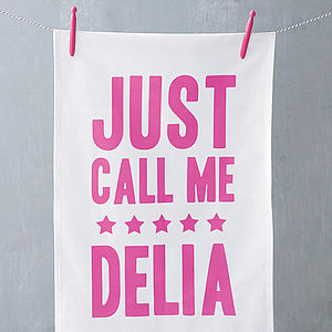 'Just Call Me Delia' Tea Towel - gifts for bakers