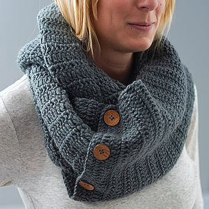 Knitted Button Detail Snood - scarves