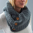 Dark Grey Button Infinity Scarf