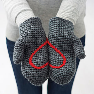 Hidden Heart Crochet Mittens - gifts for her sale
