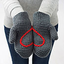 Hidden Heart Crochet Mittens