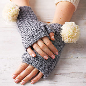 Pom Pom Fingerless Gloves - wrap up warm