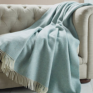 Herringbone Pattern Wool Throw - home accessories