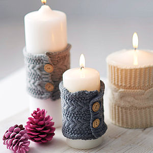 Knitted Christmas Candle Cosy - stocking fillers under £15
