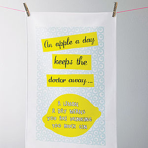 'An Apple A Day' Tea Towel - stocking fillers under £15