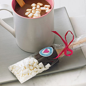 Two Hot Chocolate Dippers With Marshmallows - food & drink