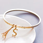 Personalised Hammered Gold Bangle - express gifts