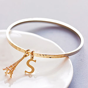 Personalised Hammered Gold Bangle - stocking fillers under £15