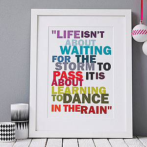 'Dance In The Rain' Print - stocking fillers under £15