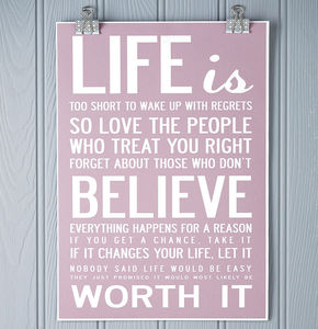 'Life Is Too Short' Quote Print Or Canvas - gifts under £25