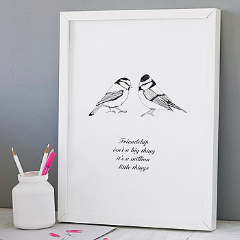Black Personalised Friendship Bird Print