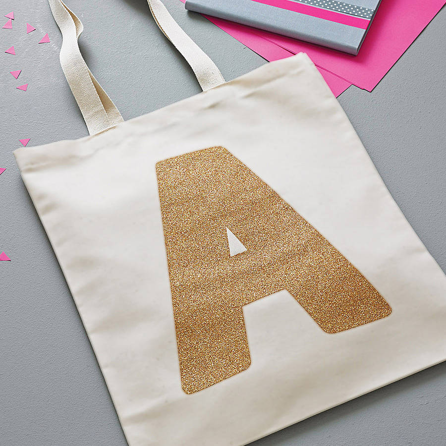 Gold Glitter Initial Tote Bag by ALPHABET BAGS