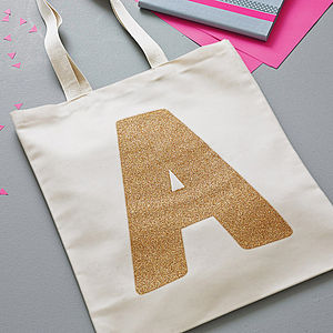 Gold Glitter Initial Tote Bag - gifts for her