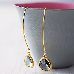 Faceted Glass Raindrop Earrings - earrings
