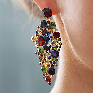 Jewel Tone Chandelier Statement Earrings - earrings