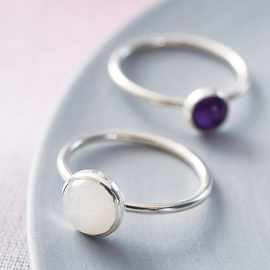 handmade sterling silver and gemstone stacking ring by