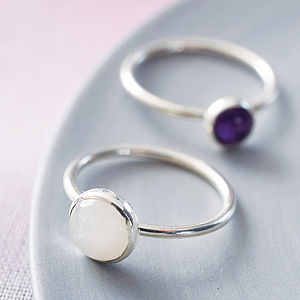 Handmade Sterling Silver And Gemstone Stacking Ring - rings