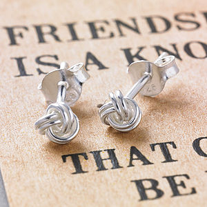 'Friendship' Knot Silver Earrings - best personalised gifts